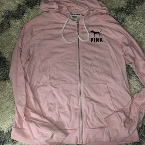 Victoria secret pink zip up hoodie, EUC